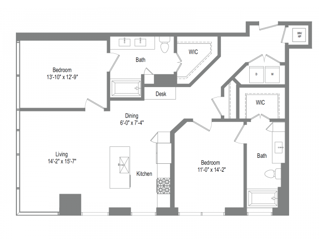1,252 sq. ft. B4B floor plan