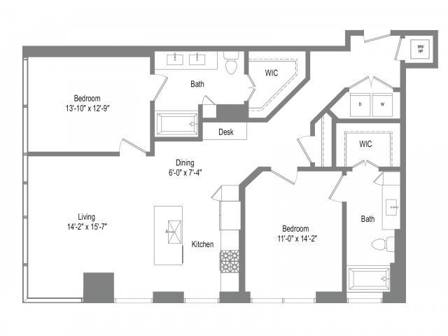 1,252 sq. ft. B4B floor plan