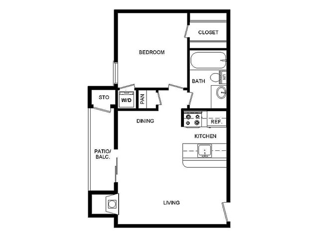 550 sq. ft. 11/B floor plan