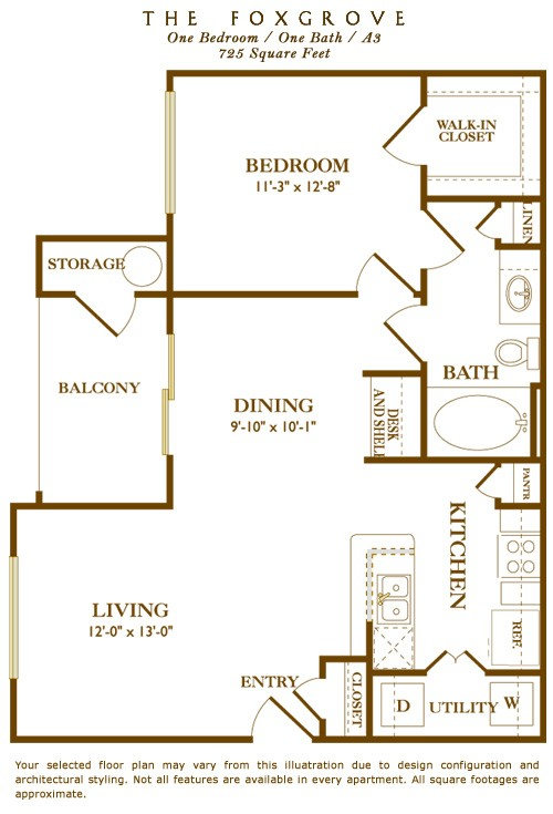725 sq. ft. Foxgrove floor plan