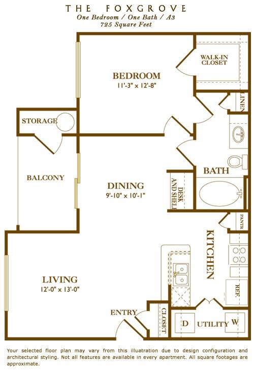 725 sq. ft. Foxgrove floor plan