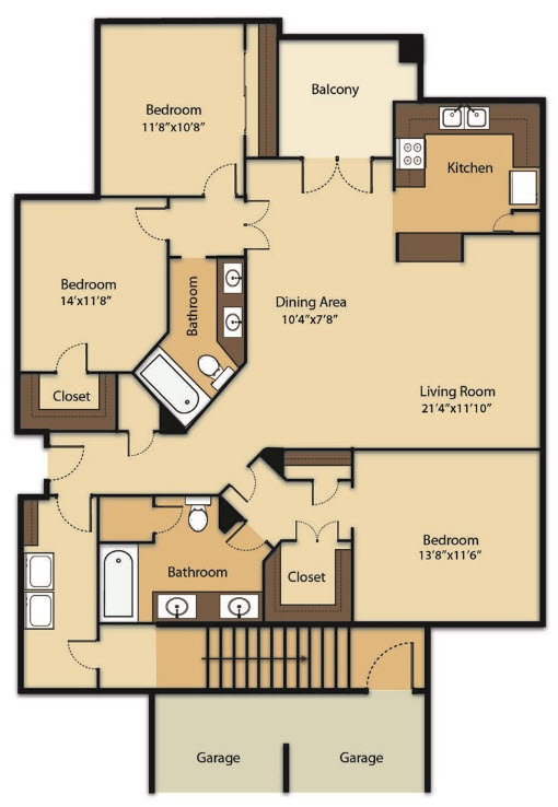 1,416 sq. ft. C1G floor plan