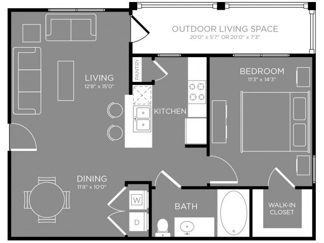 726 sq. ft. Cafe floor plan