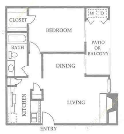 689 sq. ft. A1 floor plan
