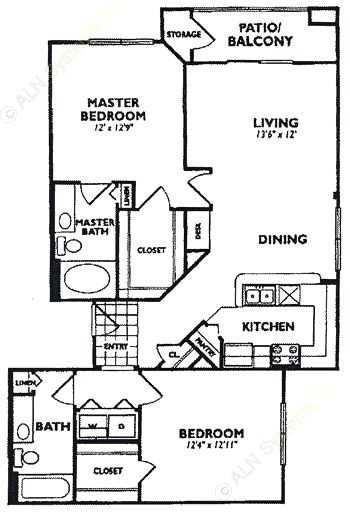 1,088 sq. ft. B5 floor plan