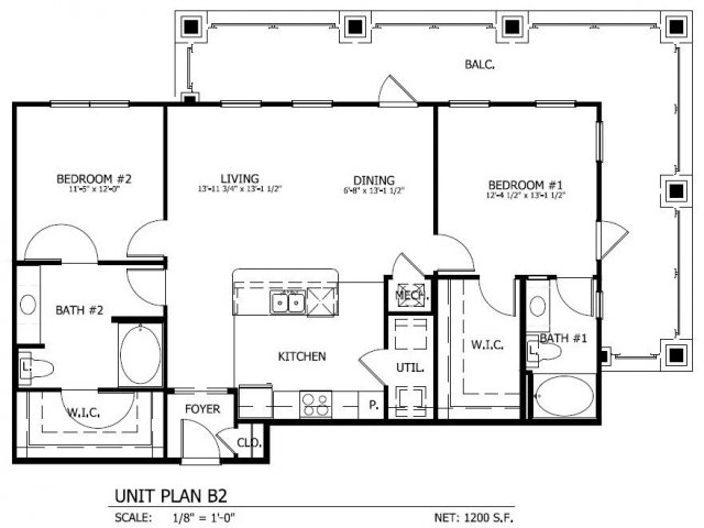 1,200 sq. ft. B.2 floor plan
