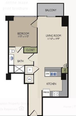 760 sq. ft. E1 floor plan