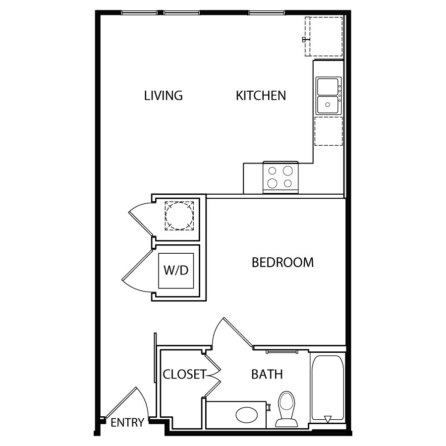 542 sq. ft. A1/60% floor plan