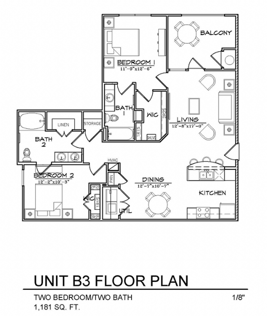 1,181 sq. ft. B3 floor plan