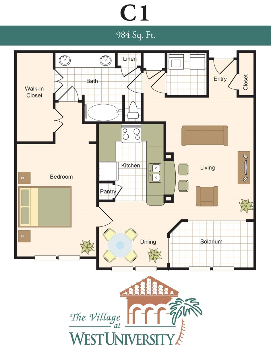 984 sq. ft. C1 floor plan