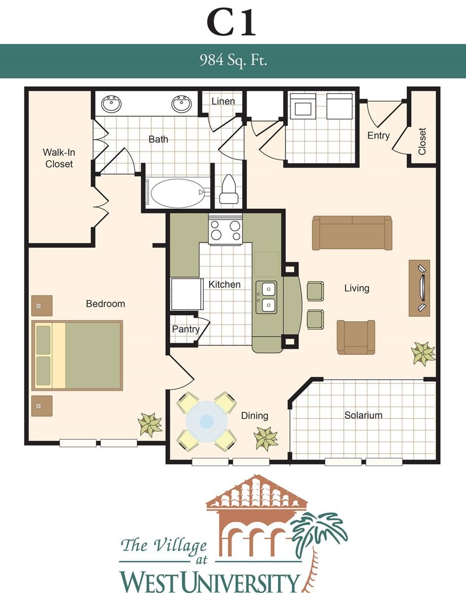 984 sq. ft. C1 floor plan