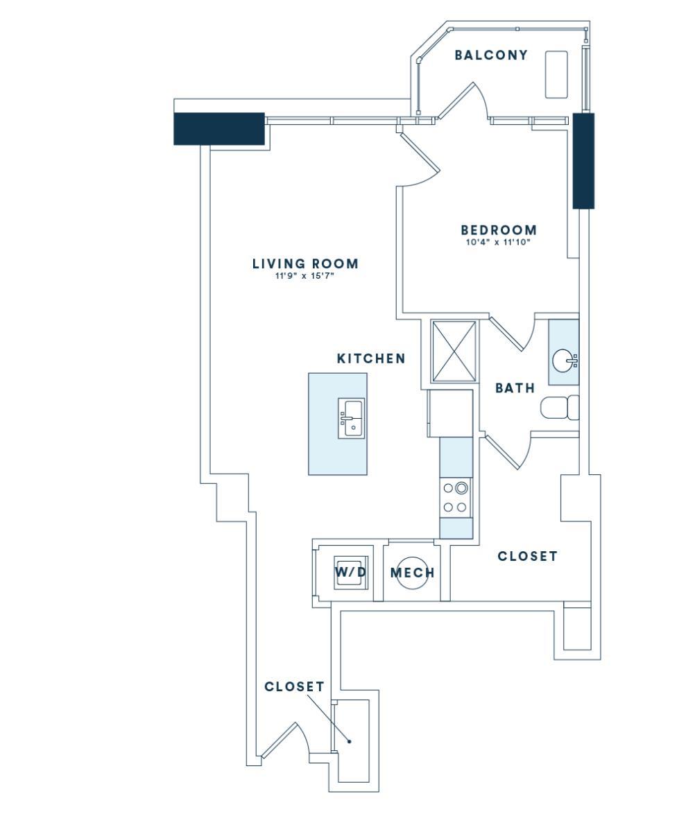 768 sq. ft. A6 floor plan