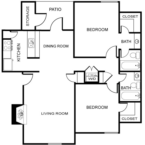 996 sq. ft. Leon floor plan