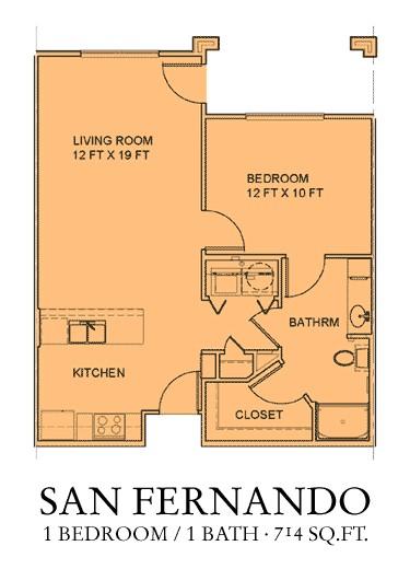 714 sq. ft. San Miguel floor plan