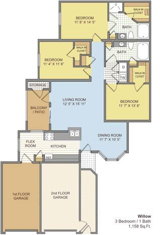 1,363 sq. ft. Willow/Garage floor plan
