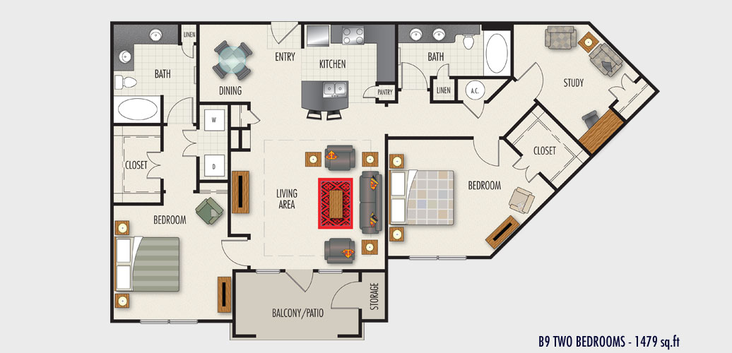 1,479 sq. ft. to 1,583 sq. ft. B9 floor plan