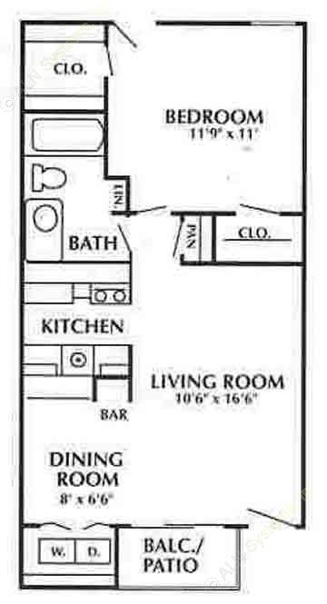 650 sq. ft. E floor plan
