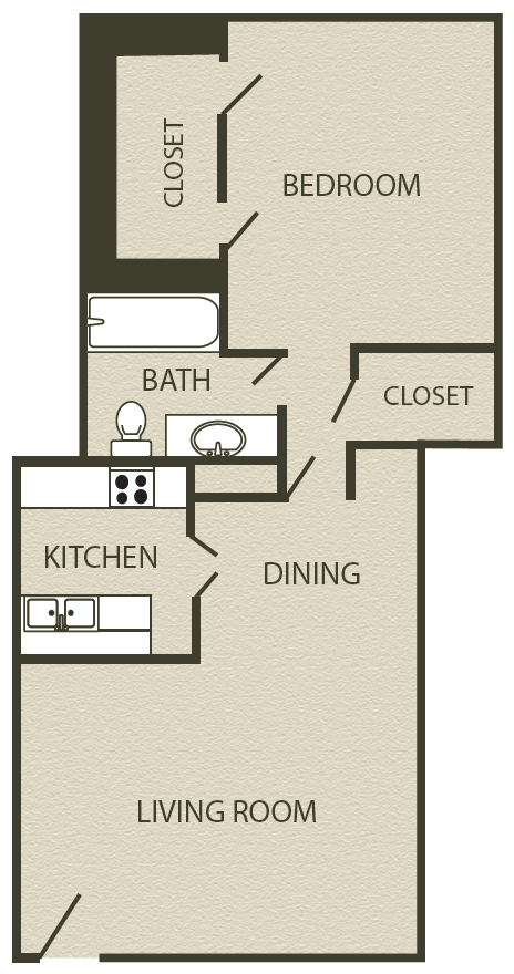 756 sq. ft. A1 floor plan