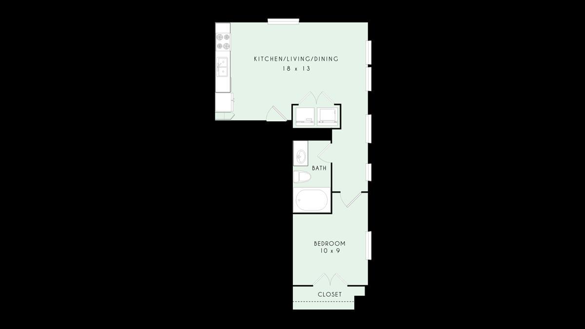 657 sq. ft. floor plan