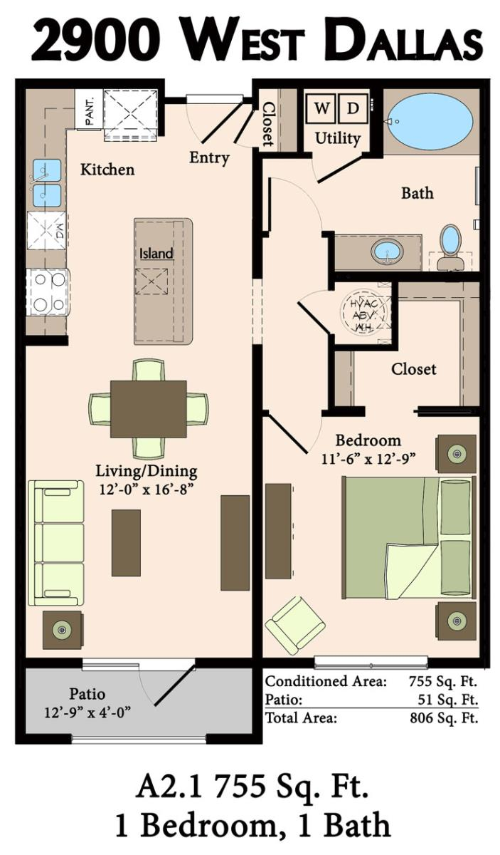 755 sq. ft. A2.1,A2.2 floor plan