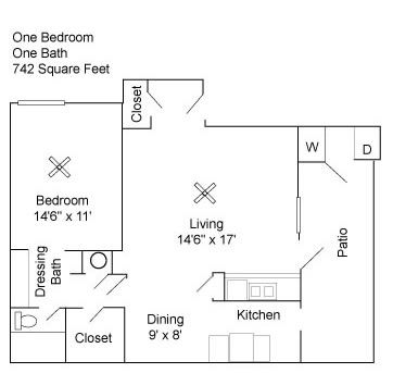 742 sq. ft. A3 floor plan