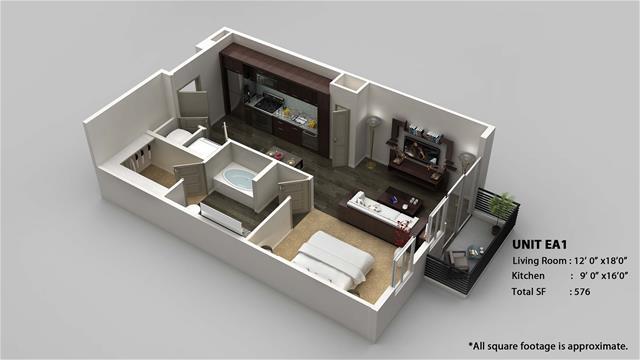 576 sq. ft. EA1 floor plan
