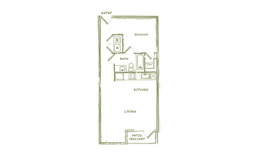 721 sq. ft. E3 floor plan