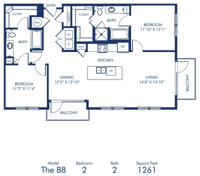 1,261 sq. ft. B8 floor plan