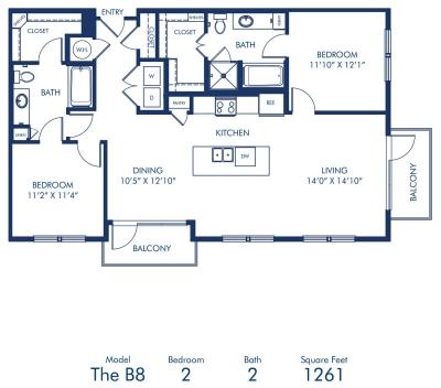 1,261 sq. ft. B8 floor plan