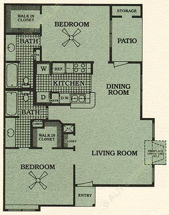 989 sq. ft. E floor plan