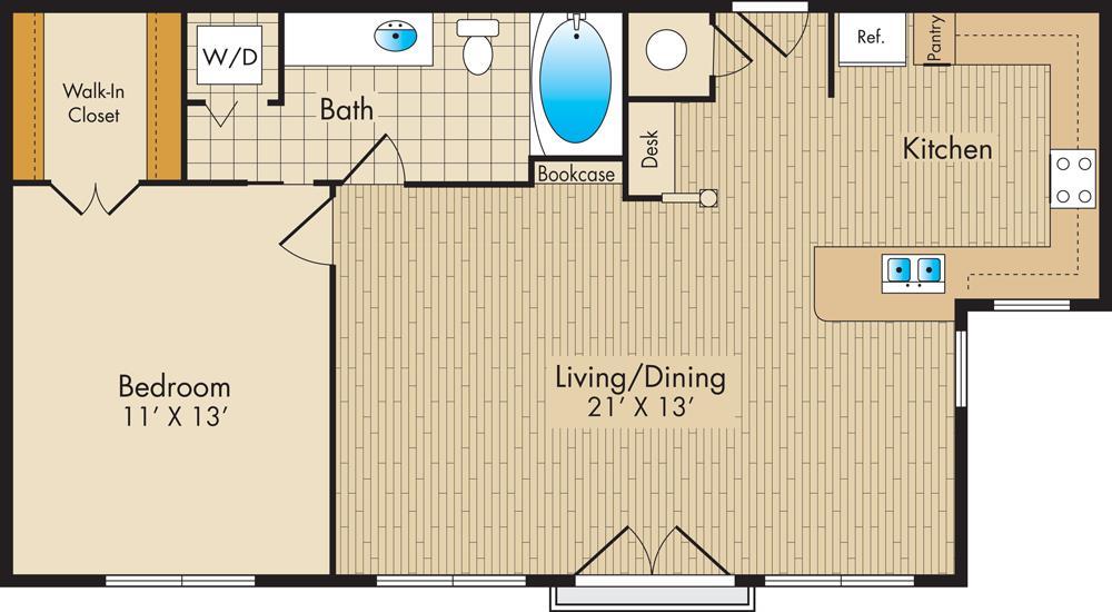 713 sq. ft. A3 floor plan