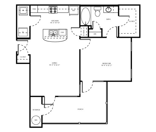 757 sq. ft. A3 floor plan