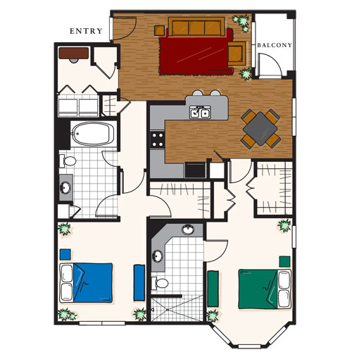 1,207 sq. ft. D2 floor plan