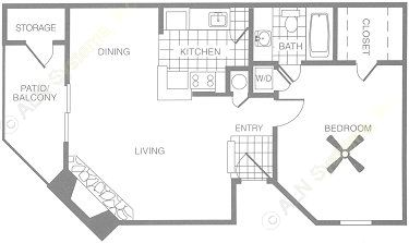 694 sq. ft. A6 floor plan