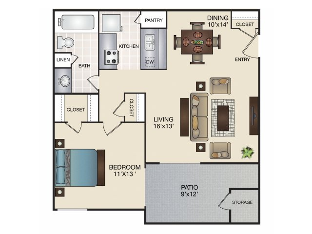 618 sq. ft. A floor plan