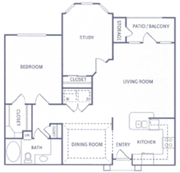 1,038 sq. ft. A3b floor plan