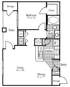722 sq. ft. A2 floor plan