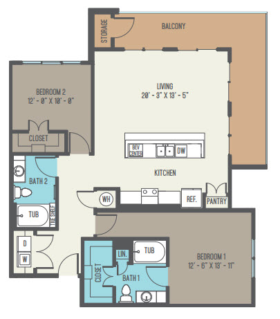 1,259 sq. ft. B3 floor plan