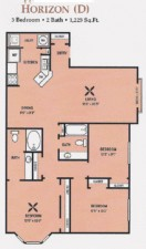 1,225 sq. ft. 50% floor plan
