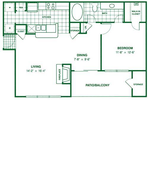 781 sq. ft. A4 floor plan