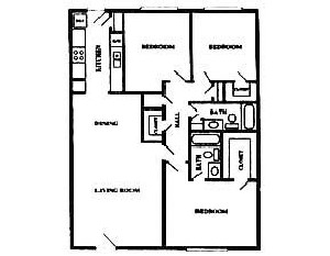 1,268 sq. ft. floor plan