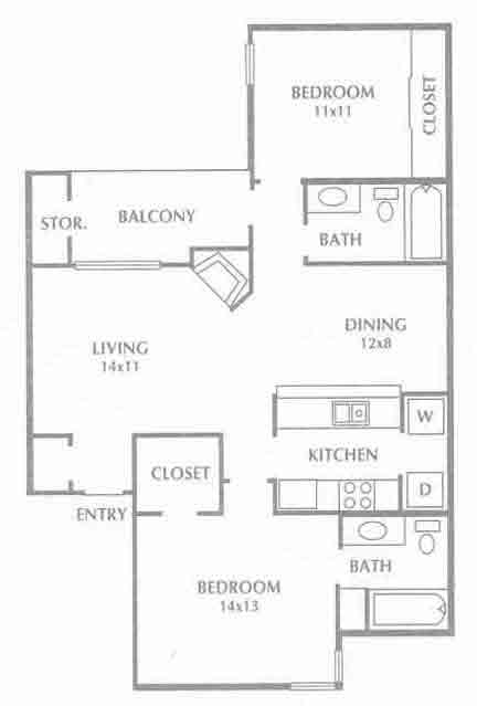 899 sq. ft. Callista floor plan
