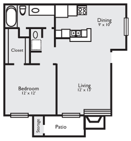727 sq. ft. 1C floor plan