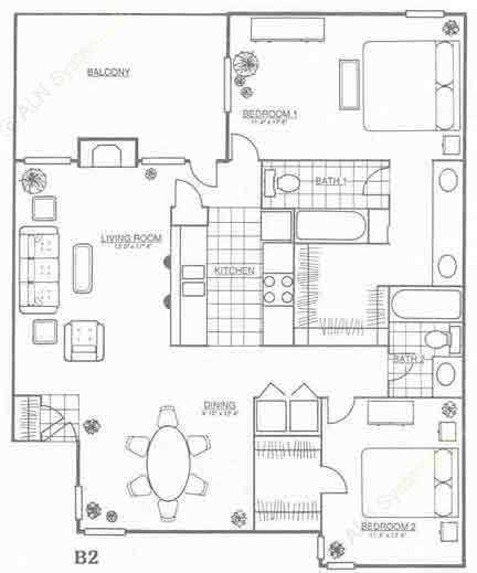 1,217 sq. ft. B2 floor plan