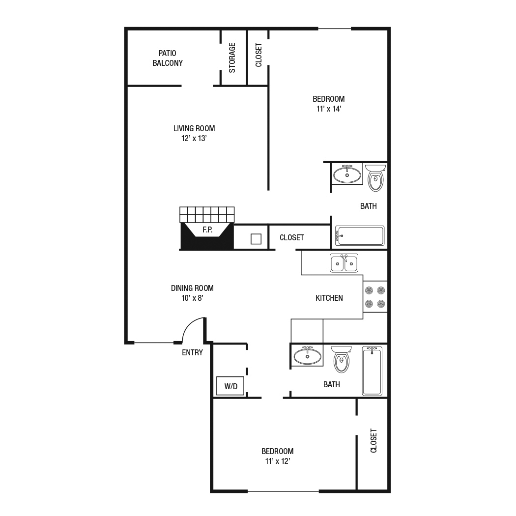 1,000 sq. ft. B-1 floor plan