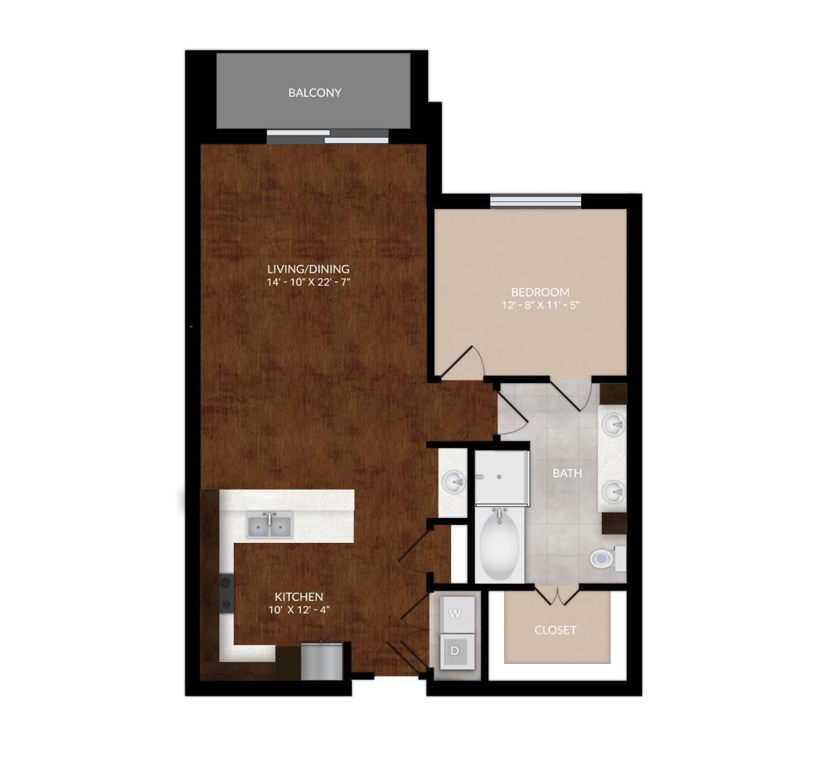 1,020 sq. ft. A10 floor plan