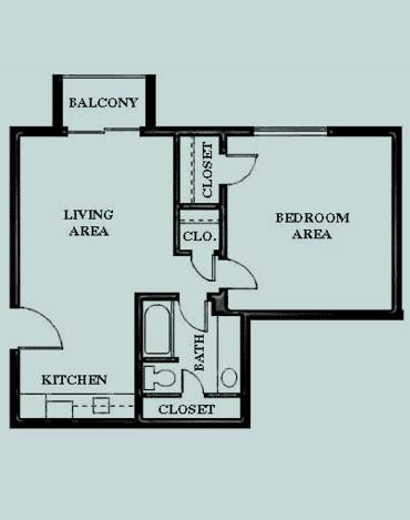 680 sq. ft. Grande 1 floor plan