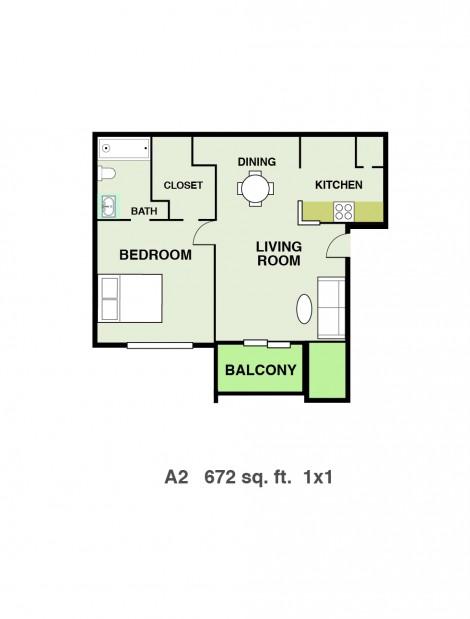 672 sq. ft. floor plan