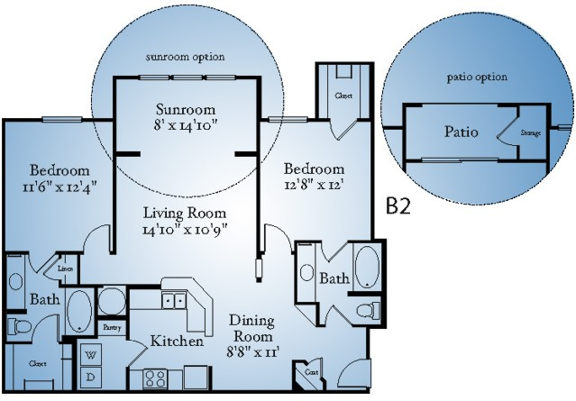 856 sq. ft. A2S floor plan