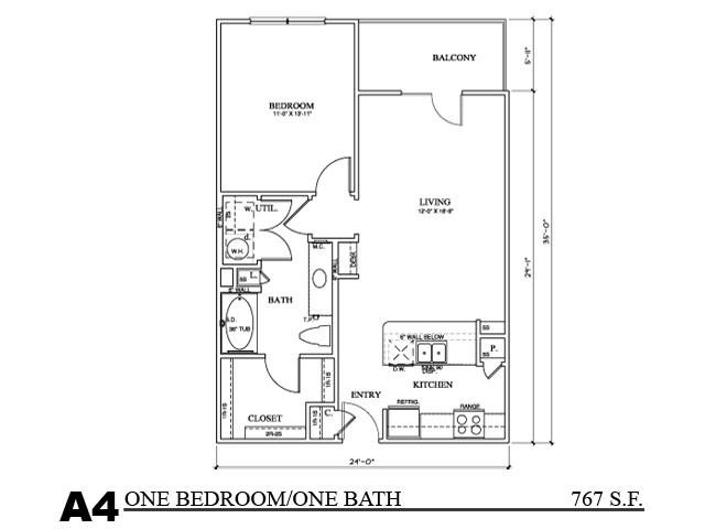 769 sq. ft. A4E floor plan